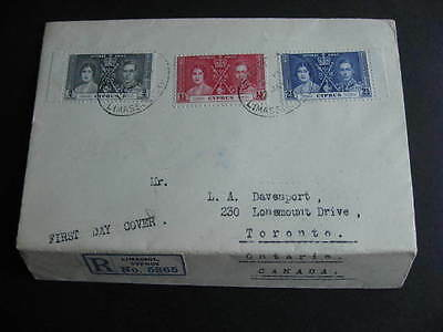 CYPRUS 1937 coronation Sc 140-2 FDC First Day Cover, folded to resize,check it!