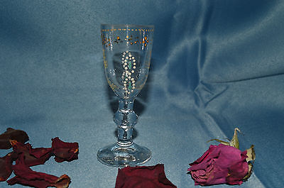 Collection / Ancien Petit Verre A Pied Decor Emaille
