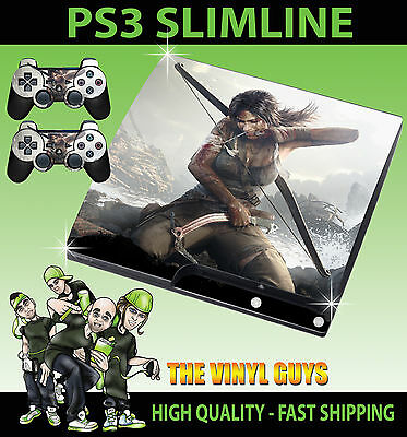 Playstation Ps3 Slim Sticker Lara Croft Tomb Raider Skin Sticker & 2 X Pad Skins