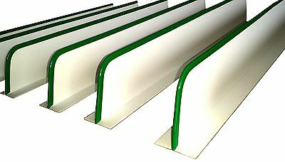 """QTY (10) 3""""H x 30""""L CURVED END WHITE DIVIDERS WITH GREEN VINYL TIP MEAT PRODUCE"""