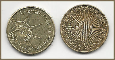 1 (ONE) AMERICAN PRIDE CAR WASH TOKEN / BRASS 28mm / STATUE OF LIBERTY