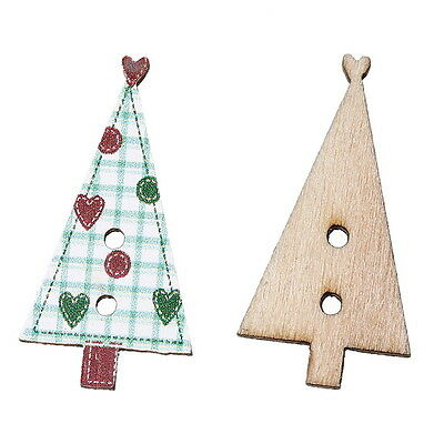 50PCs NEW Wooden Buttons Natural Christmas Trees Shaped Heart Green 3x1.5cm