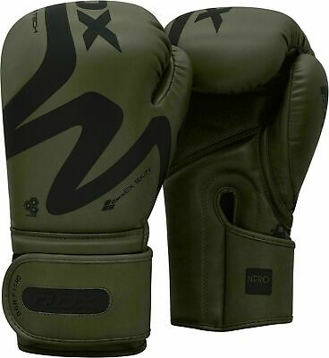 RDX Leather Boxing Gloves Fight Punching Bag MMA Muay Thai Sparring Kickboxing