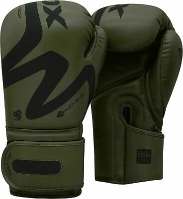 RDX Leather Gel Boxing Gloves Fight Punch Bag MMA Muay Thai Grappling Pad Kick J