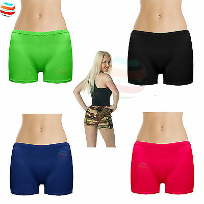 Womens Ladies Kids Hot Pants Neon Lycra Stretchy Sexy 80's Dance wear girls lot