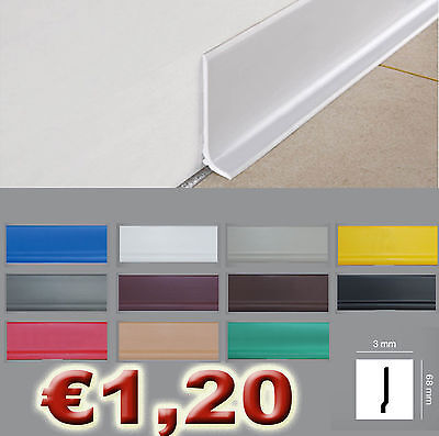 ML 100 di battiscopa polistrutturato inscalfibile pvc 68x3 in 11 colori parquet