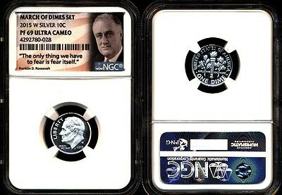 2015 W 90% Silver Roosevelt Proof Dime Ngc Pf69 Uc From March Of Dimes Set