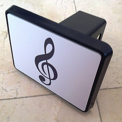 """Trailer Tow Hitch Cover Black for 2"""" Receiver Track Car SUV 5""""X4"""" Treble Clef"""