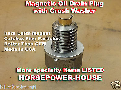 12mm MAGNETIC CRANKCASE OIL DRAIN PLUG BOLT KAWASAKI REPLACEMENT FOR 92066-0079