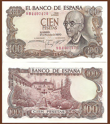 Spain P152a, 100 Pesetas, Composer de Falla /Home of Moorish kings  $15 CV UNC
