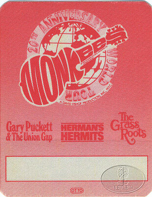 Monkees 1986 Backstage Pass Herman's Hermits Union Gap