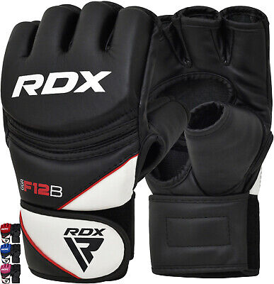 RDX Leather Gel Tech MMA UFC Grappling Gloves Fight Boxing Muay Thai Punch Bag T