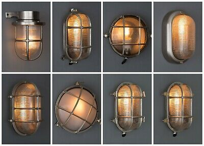 SILVER BULKHEAD LIGHT - Indoor / Outdoor Industrial Wall Light Solid Brass IP64
