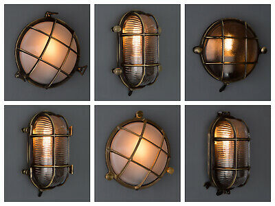 BULKHEAD LIGHT - Industrial Style Wall Light Outdoors / Indoors - Aged Brass