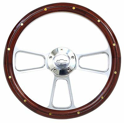Vintage Chevy Pick Up Truck Wood & Chrome Steering Wheel & Adapter 1948 -1959