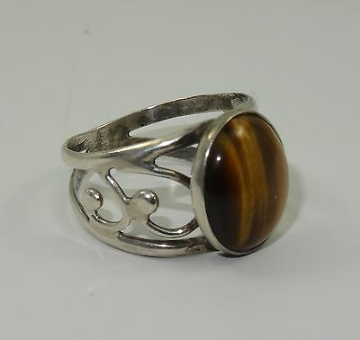 STUNNING VINTAGE 60's STERLING ORNATE OVAL CABOCHON TIGER'S EYE RING  * SZ 5