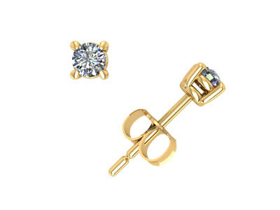 1/3Ct Round Diamond Basket Solitaire Stud Earrings 14k Yellow Gold Prong J I1