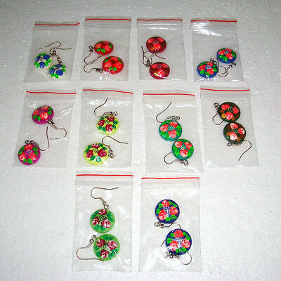 Pretty Russian Handpainted Earring~Wood~New
