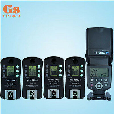 Yongnuo YN-560 IV Flash Speedlite + 4pcs Wireless Flash Trigger RF-605 LCD for N