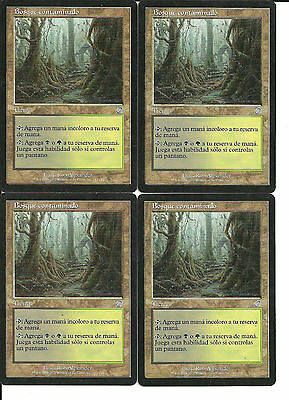 mtg Magic 4x Tainted Wood ( Bosque Contaminado ) Spanish NM-