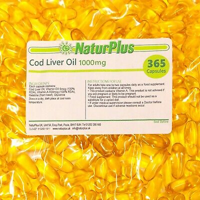 Cod Liver Oil Capsules 1000mg, 365 Capsules, High Strength, Omega 3, NaturPlus