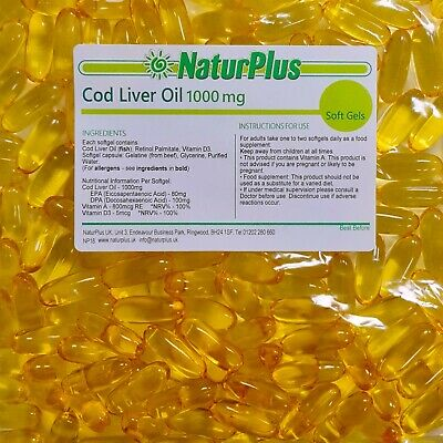 Cod Liver Oil High Strength 1000mg, 365 Capsules,  UK Made, NaturPlus