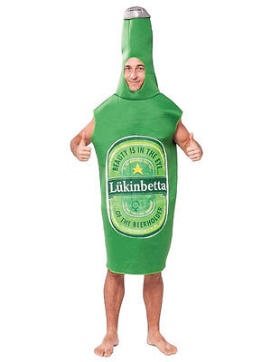 Green Beer Bottle Costume Lukinbetta Lager Novelty Fancy Dress Stag Do Festival