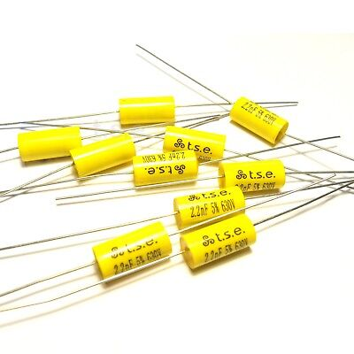 10x Capacitor 0.0022uF 2.2nF 5% 630V DC Polypropylene Axial Valve Metal Film