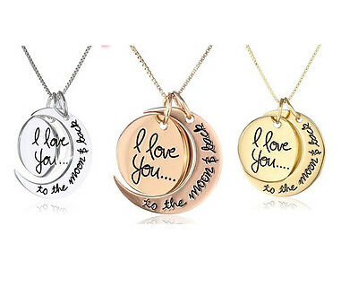 I Love You To The Moon And Back Pendant Necklace Jewellery Rose, Silver, Gold UK