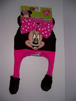Disney Minnie Mouse Flipeez Kid's Fun Knit Laplander Winter Hat NWT!