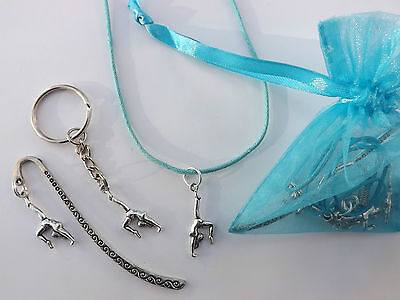 Gymnastics gift bag - CHOOSE COLOUR  - necklace, keyring, mini bookmark