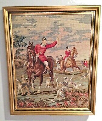 Beautiful Vintage Framed Needlepoint Hunting Scene with Horses and Dogs