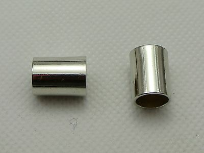 100 Silver Tone Metallic Acrylic Tube Beads Spacer 13X10mm with Big Hole