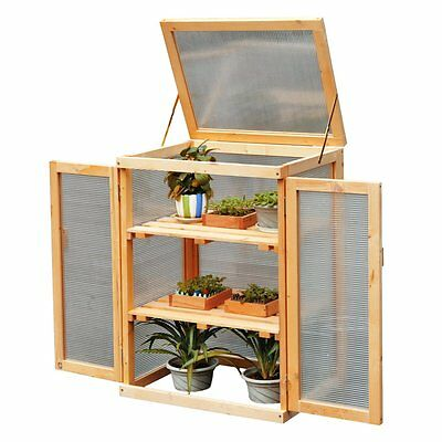 NEW Wooden Cold Frame Cupboard Grow House for Garden Plant Vegetable Growing