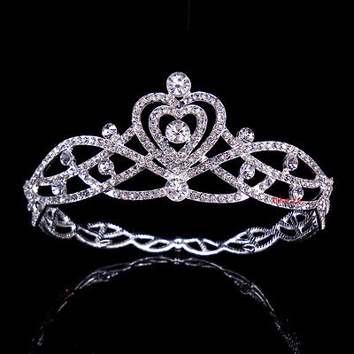 4.5cm High Full Crystal Heart Wedding Bridal Party Pageant Prom Tiara Crown