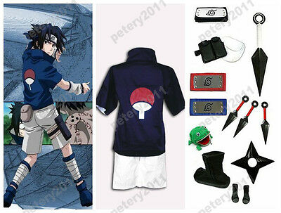Custom-made Naruto Sasuke Uchiha Cosplay Costume Set