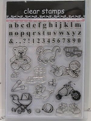 Alphabet Numbers & Baby Clear Stamps 54 Designs (1678) Cardmaking Scrapbooking