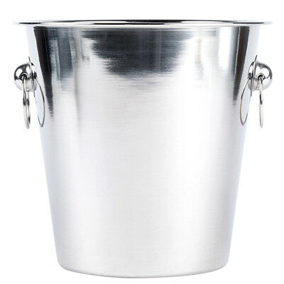 Stainless Steel Champagne Ice Bucket Handles Cooler Drink Party Punch Beer Wine