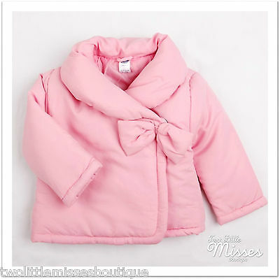 Baby Toddler Girls Winter Puff Jacket with Bow - Pink