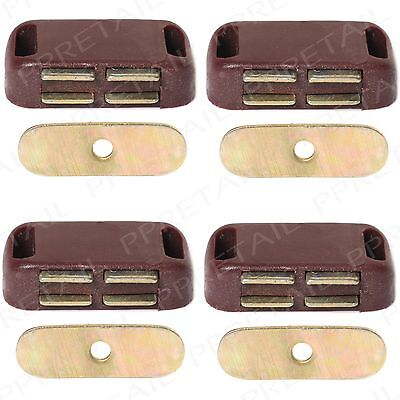 4x Small MAGNETIC DOOR CATCHES Pack Brown Cupboard Wardrobe Cabinet Drawer Catch