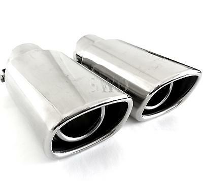 TWO Universal Sports Exhaust Trims Sporty Tail Pipe Tips Mufflers Finishers NEW
