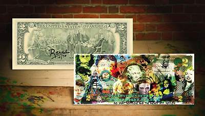 COLLAGE LOVE & MONEY Rency / Banksy Pop Art $2 Bill U.S. - Signed by Artist #/70