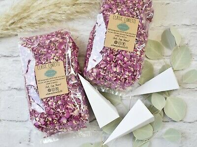 Natural Real Dried Petal Biodegradable Wedding Confetti Pink & Ivory 1 Litre