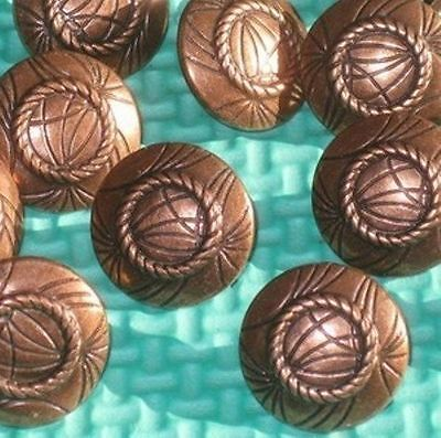 """Set 12 FANCY Vintage New COPPER MeTaL Buttons with Shank 11/16"""""""