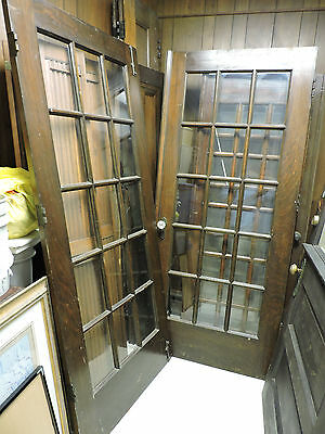 Set Of Antique Art Deco Solid Wood 15 Window Pane Heavy French Doors 83 X 36