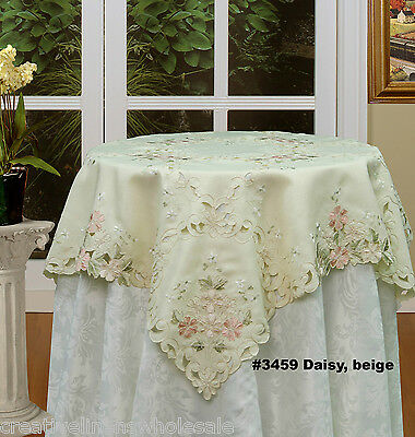 """Spring Embroidered Daisy Floral Cutwork Tablecloth 33x33"""" SQUARE Topper #3459"""