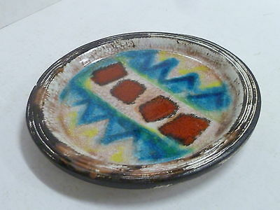 Vintage Mid Century Australian Pottery Hanging Wall Plate Signed Ellis