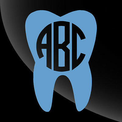 Dentist Tooth Shape Monogram Decal Sticker - TONS OF OPTIONS