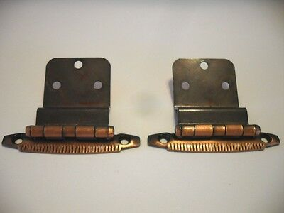 "Vintage COPPER Plated Patrician HINGES 3/8"" Inset For Overlapping Cabinet Doors"