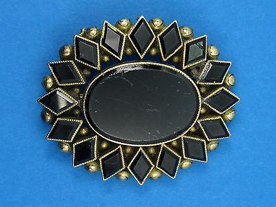 ANTIQUE VICTORIAN SOLID 18K GOLD w/ LARGE JET ONYX MOURNING PIN BROOCH ~ 32 mm